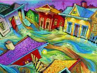 Танцующие дома и люди от иллюстратора Terrance Osborne
