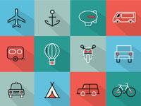 Скачать бесплатно 15 наборов иконок на тему транспорт, туризм, путешествия