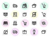 Скачать бесплатно 100 черно-белых иконок на тему шоппинга и коммерции